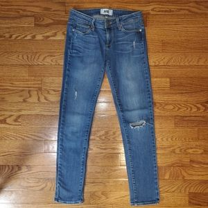 Paige Light Wash Destroyed Skinny Jeans